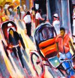 Mike Bergen _Cycle Rickshaws in Dhaka_Acrylic