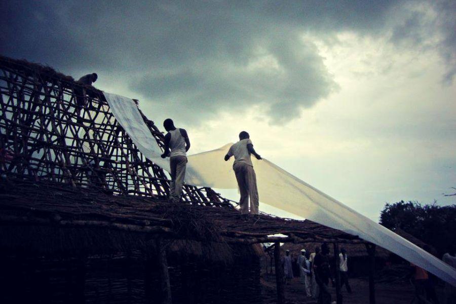 Construction going on despite 8 month long rainy season, Maban County, South Sudan