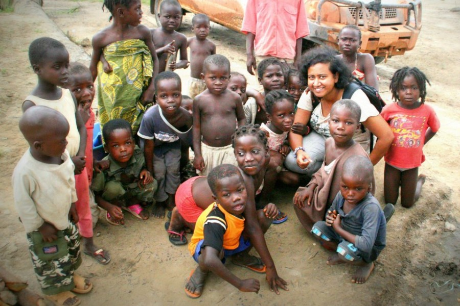 With a group of children at Bahn Camp,  in Nimba County in  Liberia. © Nadia Khalid