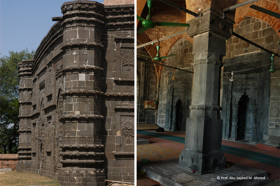 Corner turret (left) and stone pillar| Photo credit: Syed Zakir Hossain