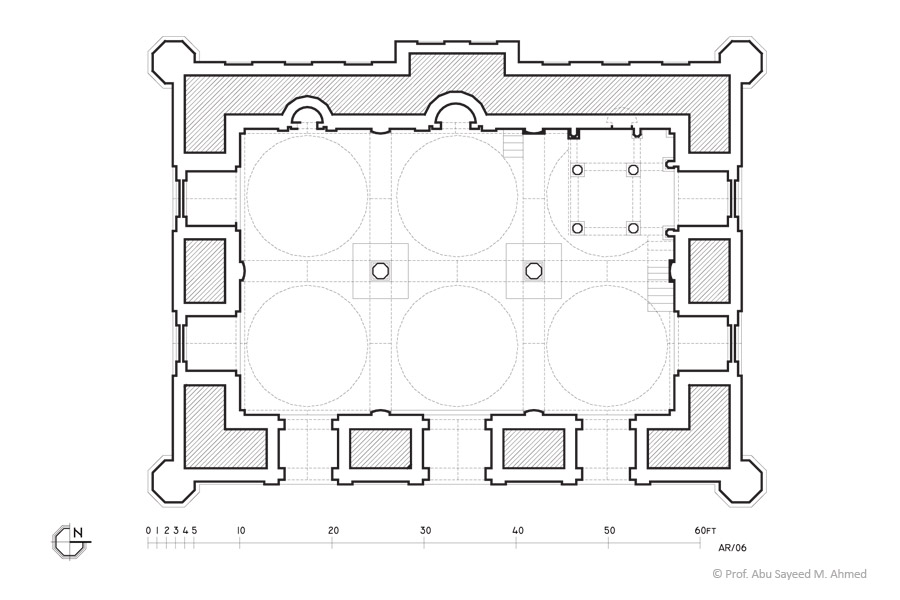 Plan of Kusumba mosque at Naogaon , 1558 AD | © Prof. Abu Sayeed M. Ahmed