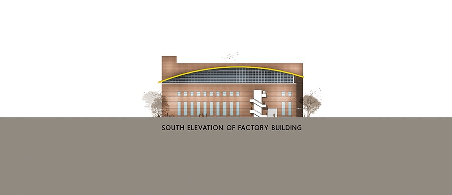 South Elevation of the Factory Building ©BINYASH