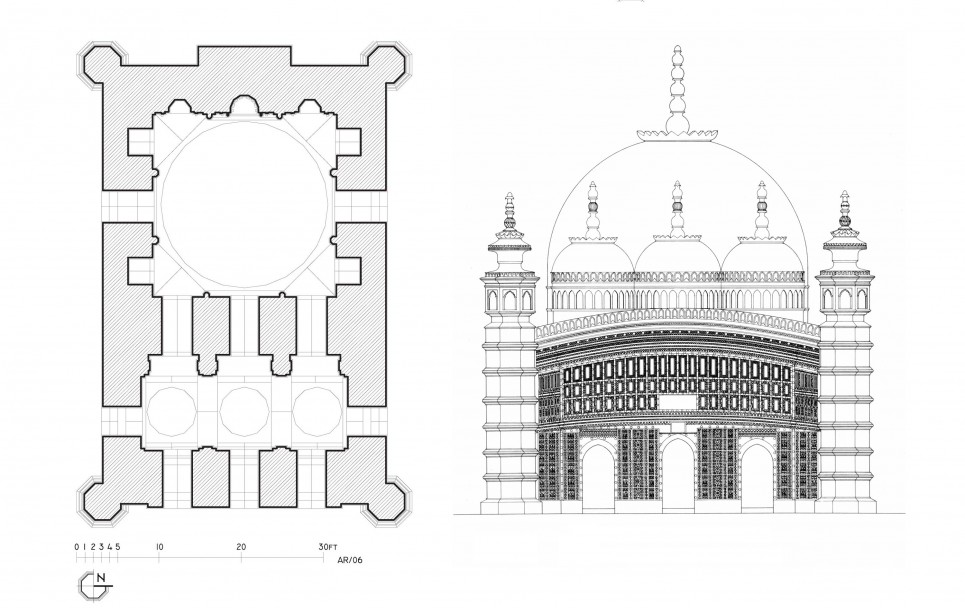 Plan & Elevation, Atiya Mosque, 1609 AD