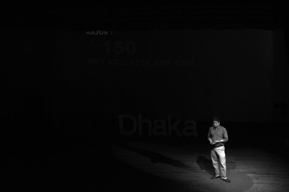 Speaking at TEDxDhaka. Photo courtesy: DWM4 Architects