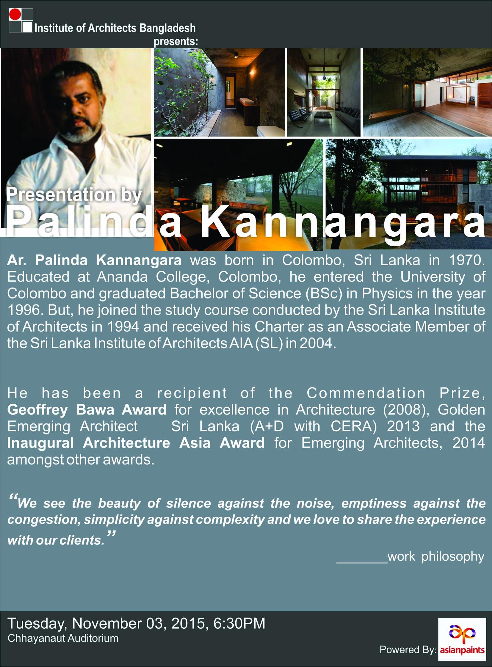 IAB lecture Series _  Palinda Kannangara _ Nov 2015