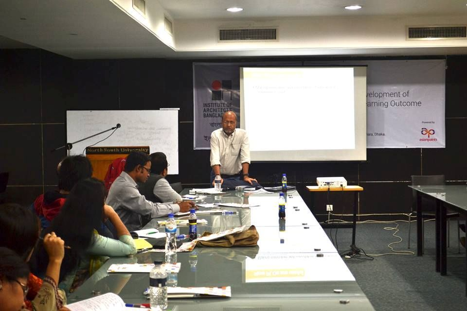 "Dr Rahman speaking in his workshop titled ""Graduate Attributes and Developing Learning Outcomes"" . Photo Courtesy: Dr Rahman"