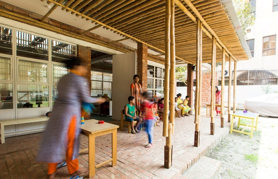 kindergarten school design, Dhaka, Local material, Bamboo architecture , Contemporary Vernacular Architecture