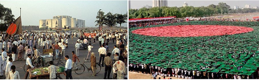 Two potential urban spaces in new Dhaka that have not been realised— i. Jatiyo Sangsad Chattor, ii. Jatiyo Parade Ground ( image: collected)