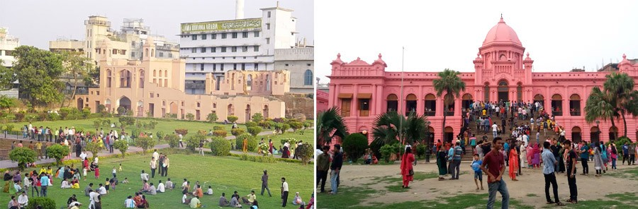 most popular destinations in old Dhaka with potential to become successful urban space— i. Labagh Fort, ii. Ahsan Manzil (image: collected )