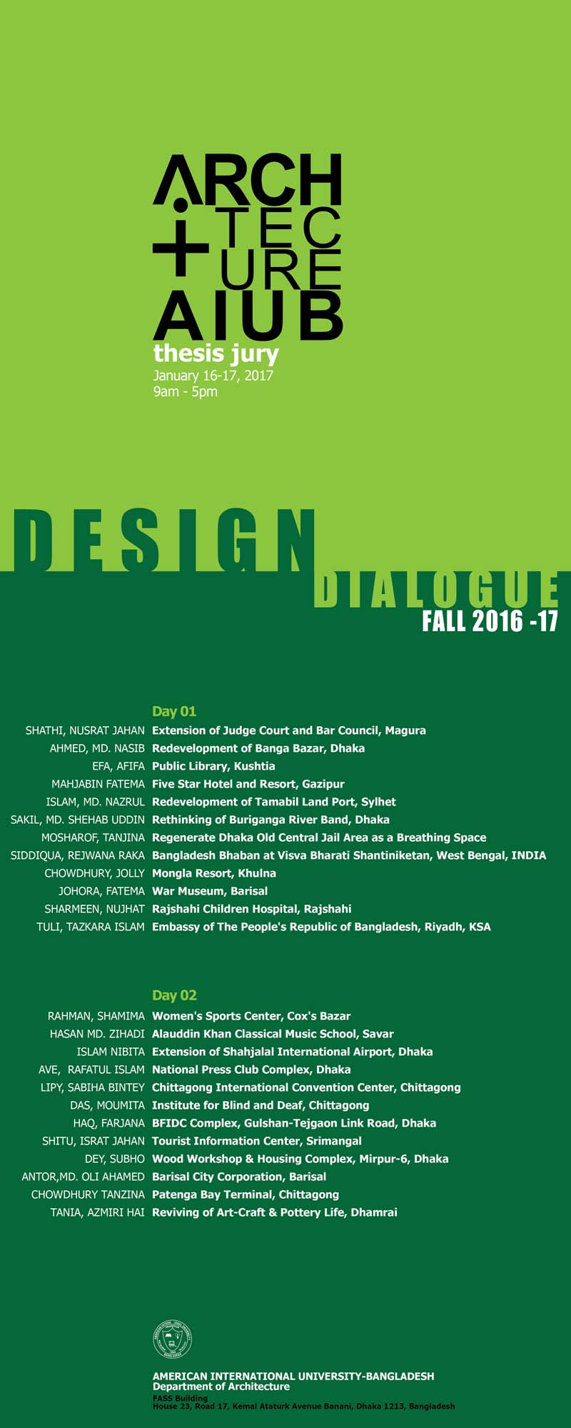 DESIGN DIALOGUE _ Fall 16-17 © Department of Architecture, AIUB