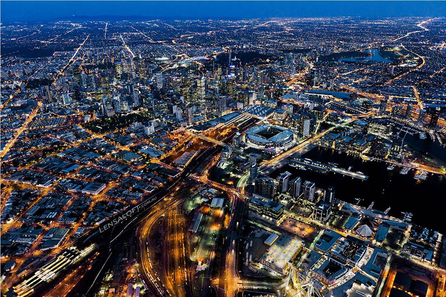 Melbourne, Australia. Birds eye view