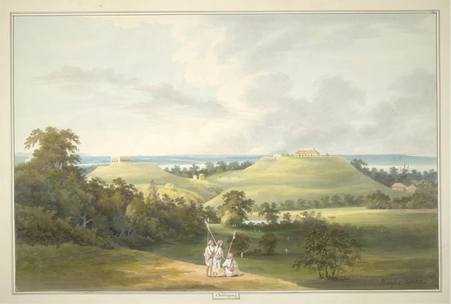 Water color painting of Chittagong showing European bungalows and a river in the distance by James George (1782-1828), 5 October 1813.