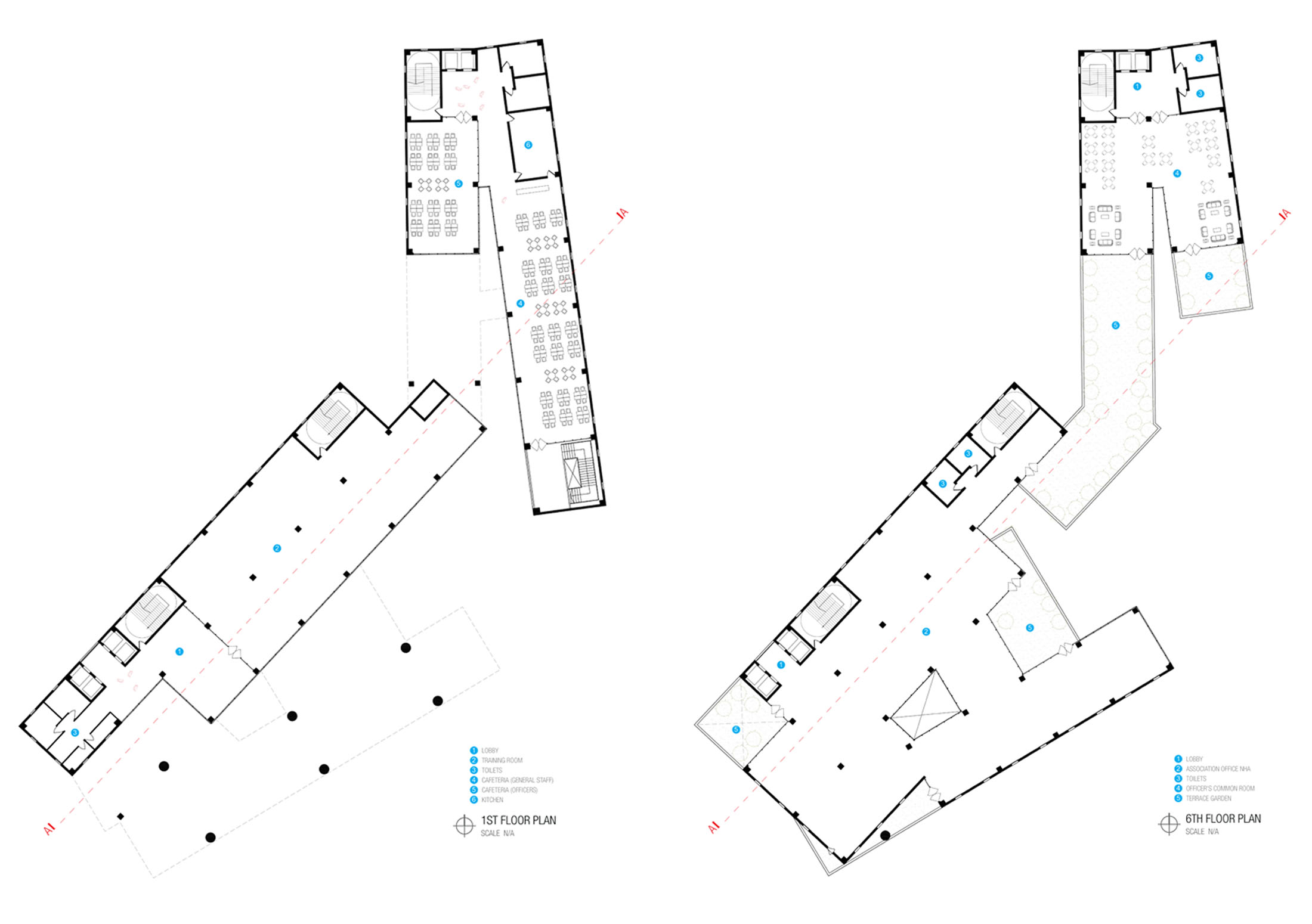 Floor Plans _ 1st + 6th © aakor architecture workshop