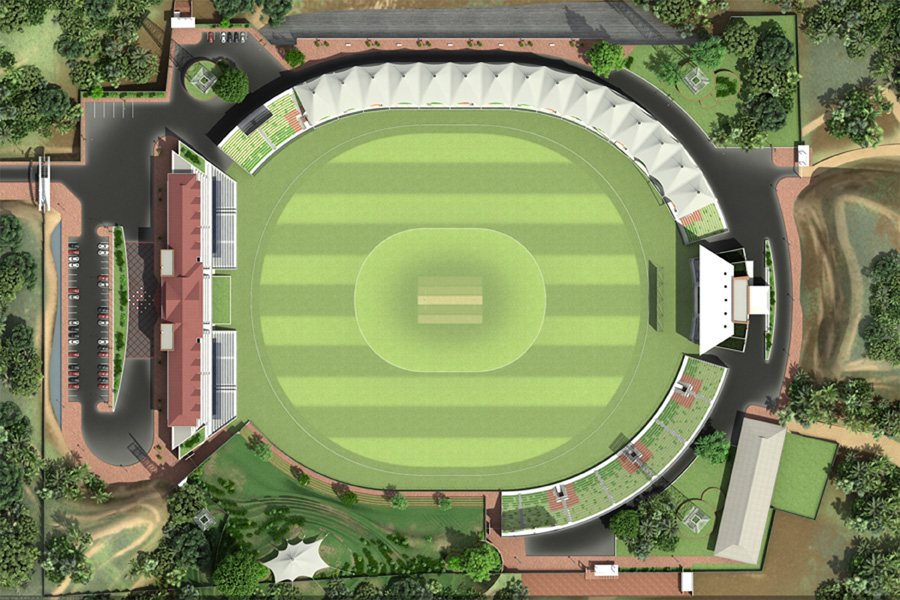Sylhet International Cricket Stadium ( render view) | © Bashat Architects Engineers Ltd.