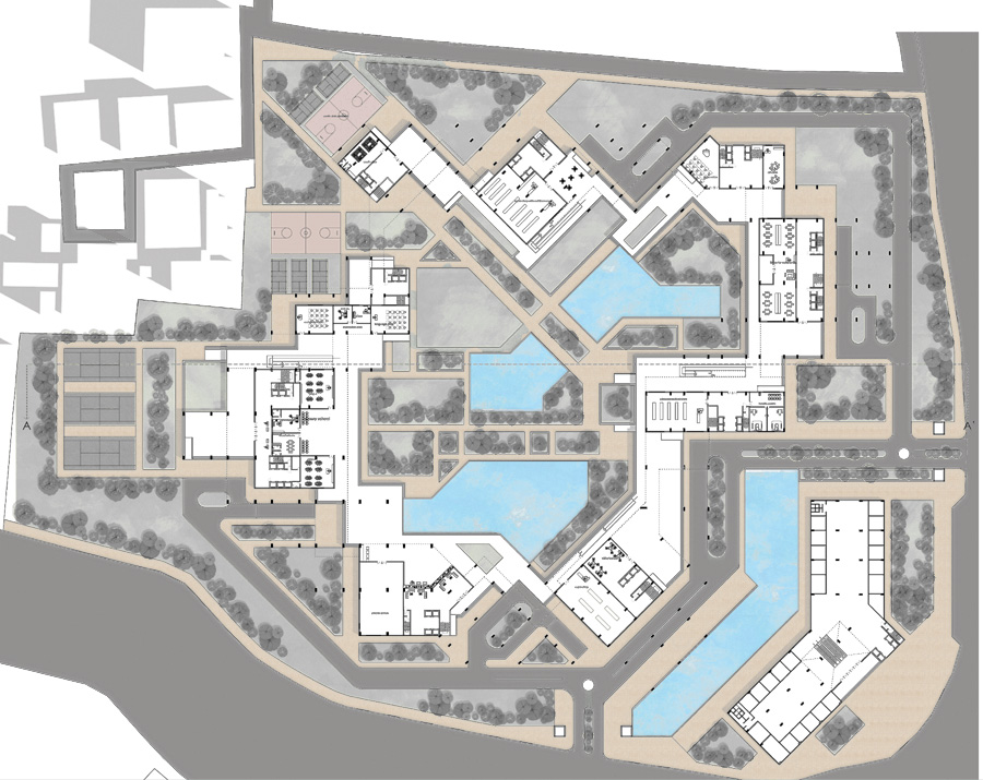 Ground level plan of the housing complex © Abu Sayeed Mohammed Ziad
