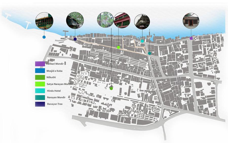Heritage Map: Borobazar and surrounding urban area © Nafiz Rahat
