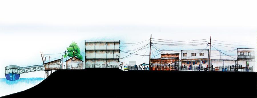 Section through Momin Ghat and Kali Bari Road © Nafiz Rahat