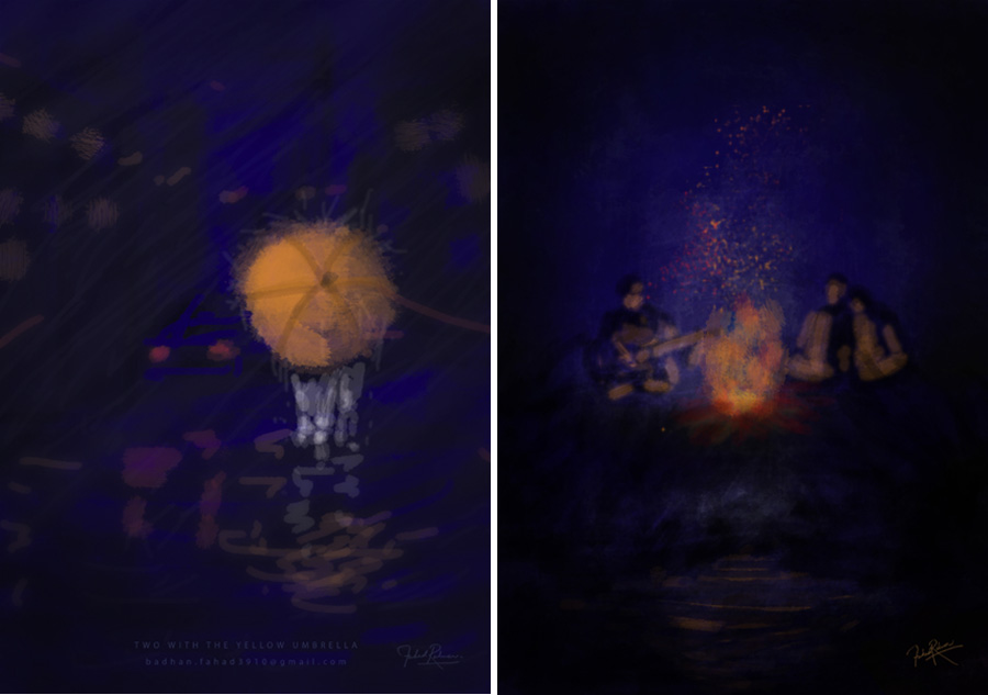 Two with the yellow umbrella (Left) and A Midsummer Night's Dream (Right) © Fahad Rahman