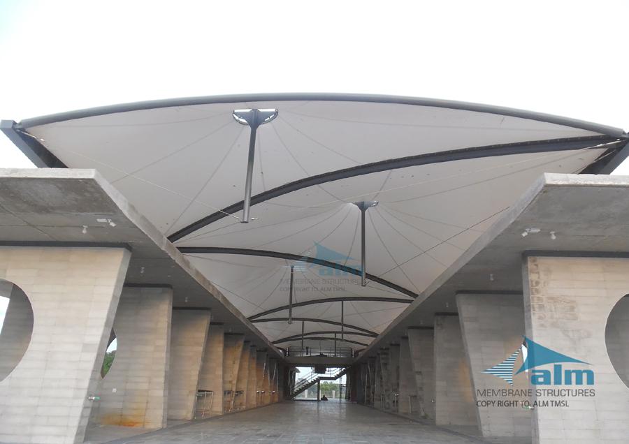 Canopy over market hall , Village Super Market, Khulna © ALM Tensile Membrane Structure Ltd