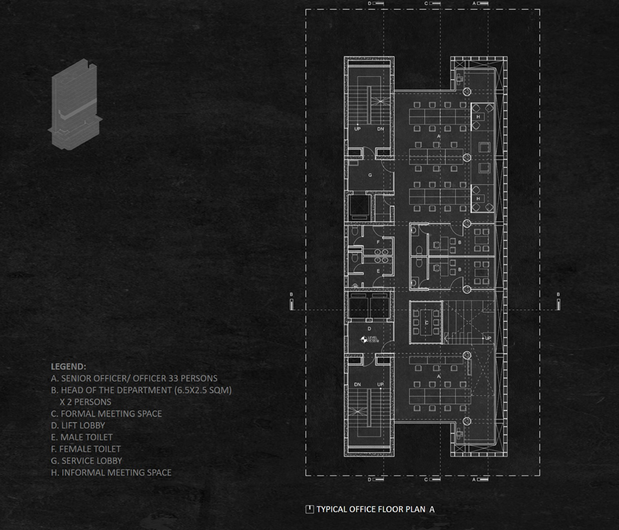Typical office floor plan_A © Studio Morphogenesis Ltd.
