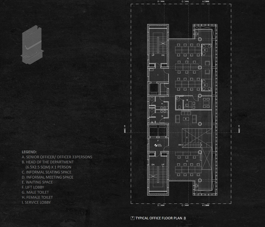 Typical office floor plan_B © Studio Morphogenesis Ltd.