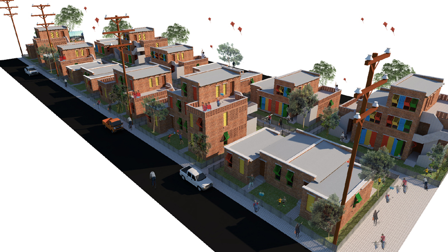Birds eye view of proposed housing scheme © Design Team