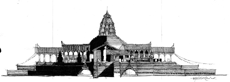 SOMPUR Mahavihara (Paharpur) 781 CE. Naugaon, Rajshahi Conjectural sectional elevation shows the spatial environment along with the lighting condition in the compartment. © Dr. SAJID BIN DOZA