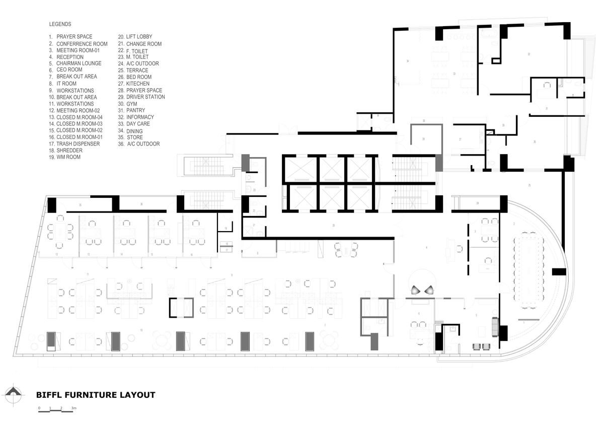 Furniture Layout Plan, Green office for BIFFL © ARCHVISTA