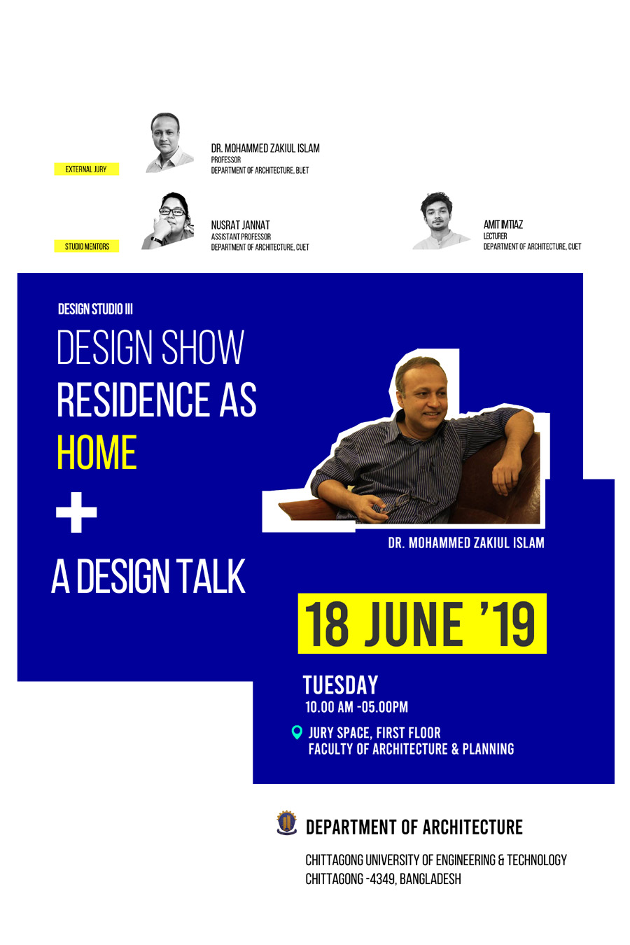 Residence as Home Design Jury 2019 | Dept of Architecture, CUET