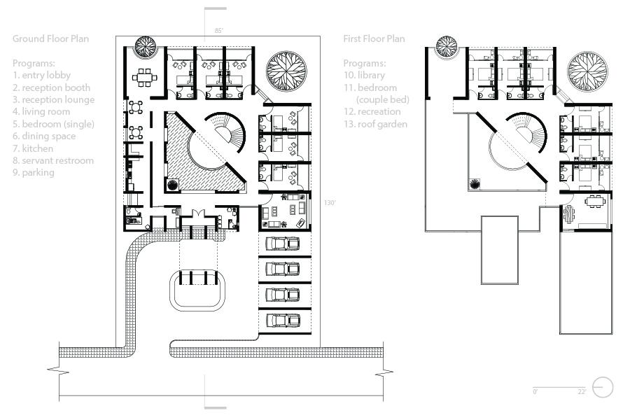Guest house: Floor plans © Md. Raihanul Hai (SUST)
