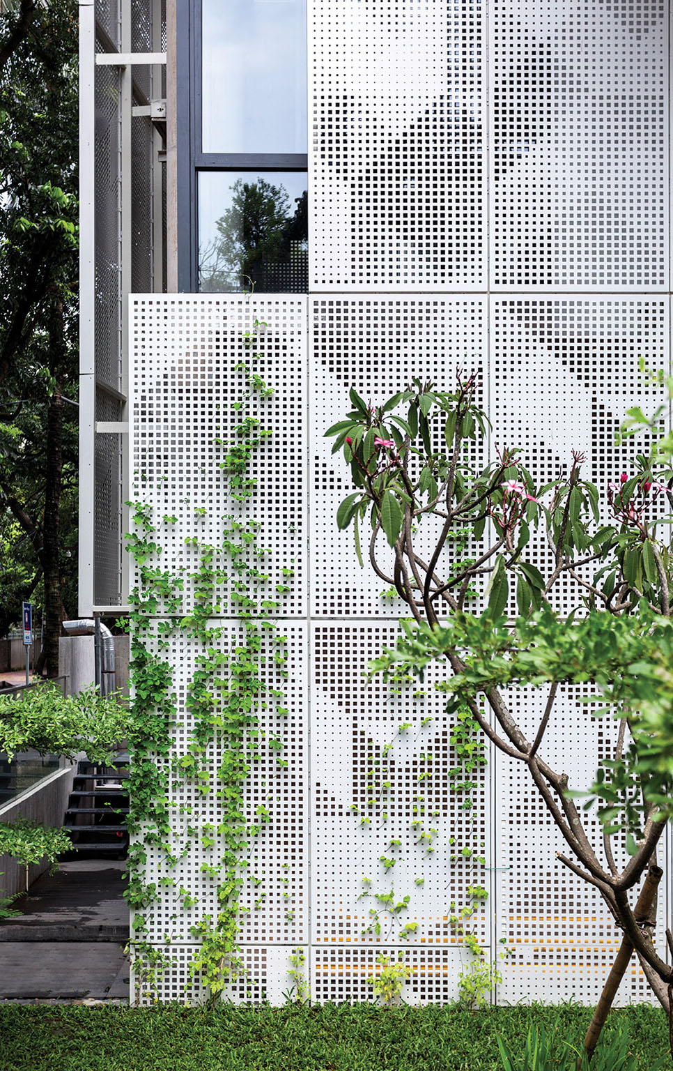 Ground floor outdoor with plants growing on the screens © Studio Morphogenesis Ltd.