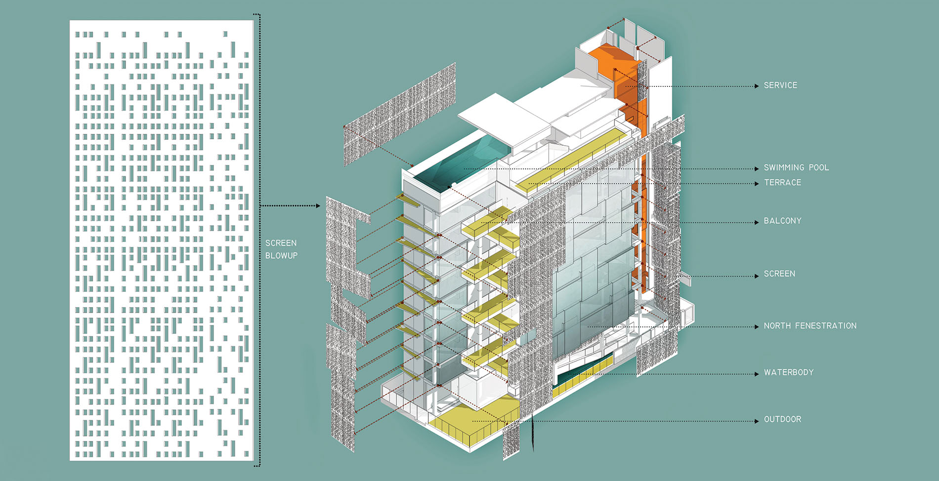 Isometric diagram with exploded screens and legends © Studio Morphogenesis Ltd.