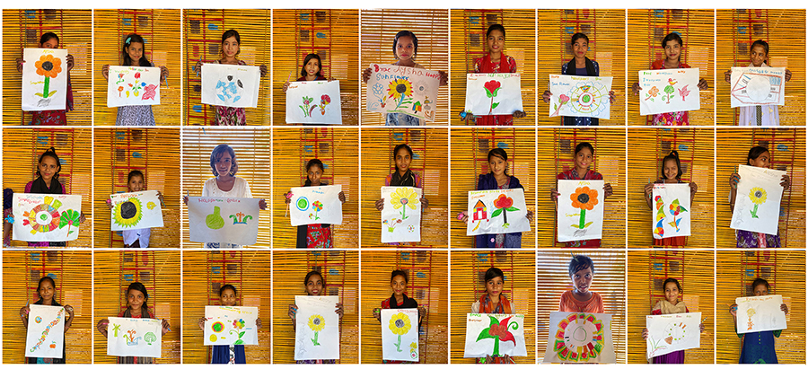 Rohingya Girls with their drawings