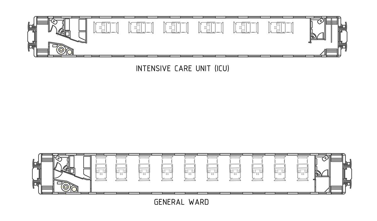 Plan of railway carriage as emergency field hospital ©Amlan Kumar Dey