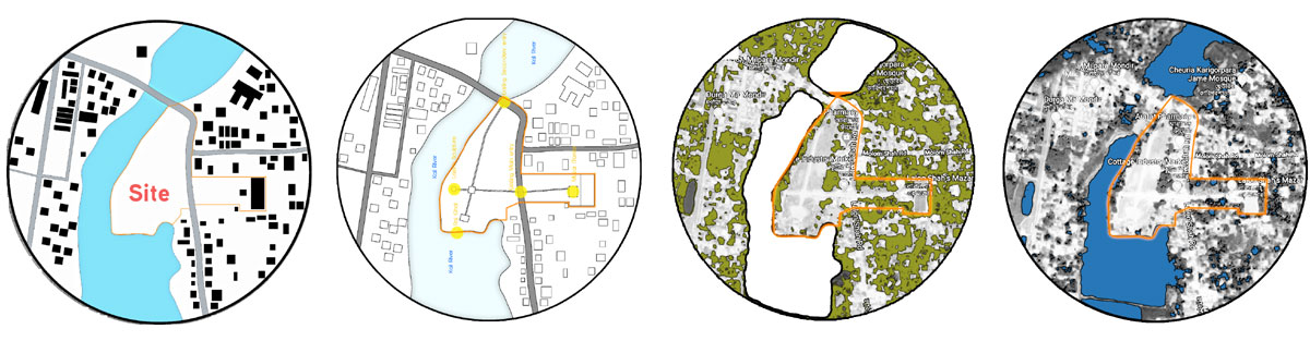 The site: Figure ground map, existing marks, green map, water map (from left to right) © Sabbir H Sujan