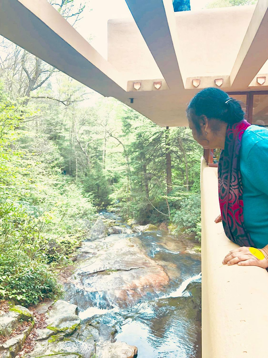 Architect Nazma Anwar while visiting Falling Water