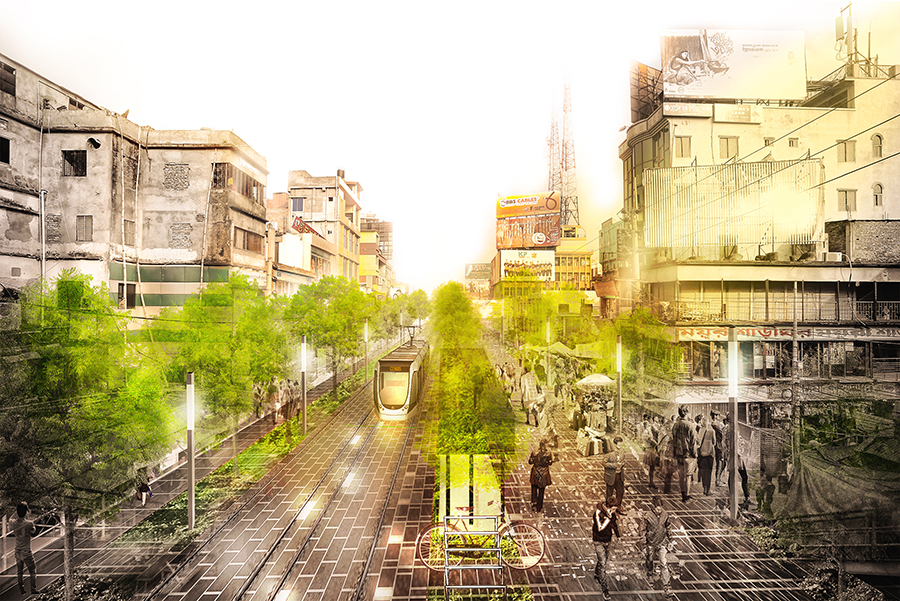 Proposed street designed for people © Swarajit Sarker