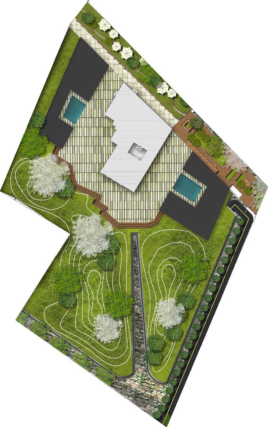 Figure 11: The entrance of Axis divided the site into two halves which were designed as mound, will change their recreational mood according to seasons. The new buildings respecting the historic Eisfabric building, merged with landscape by their sloppy character. The old premise is proposed as ecological museum for Spree River's bio diversity. The river shore is left vacant for 50 meter. Source: author