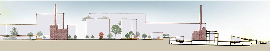 Figure 13: The heritage buildings, Eisfabric and Eirkuhler were respected in design proposal by merging the new built forms with landscape. Source: author