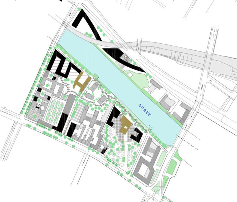 Figure 8: The black masses representing additional footprints with existing built forms (grey) and two enlisted industrial heritage buildings (brown). Source : Author
